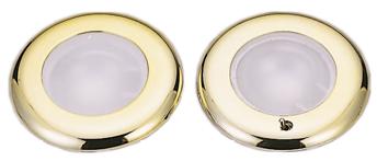 allpa Kunststof LED-Plafondlamp met messing ring inbouw 12-24V/1 8W met schakelaar