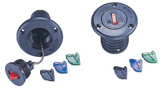 allpa Kunststof dekvuldop met 4 kleurgecodeerde sleutels & 6 naamlabels  slangaansluiting Ø50mm