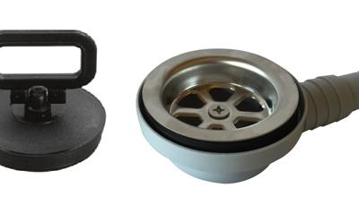 allpa Kunststof haakse afvoer 90° voor spoelbak met RVS zeef & rubber met Stop; aansl. 20 & 25mm