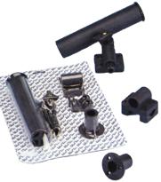 allpa Kunststof hengelhouder voor railing- (Ø25mm)  dek- of zijmontage  L=215mm  max. Ø40mm  zwart
