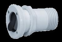 allpa Kunststof huiddoorvoer met anti-terugslagklep  Ø55mm draad  tule aansl. 50mm  flensmaat 50mm