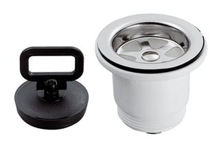 allpa Kunststof rechte afvoer 1-1/2 met RVS zeef & rubber stop