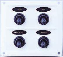 allpa Kunststof schakelpaneel  12V  4-schakelaars  15A zekeringen  incl. labelset  wit
