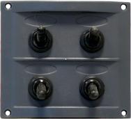 allpa Kunststof schakelpaneel  12V  4-schakelaars  15A zekeringen  incl. labelset  zwart