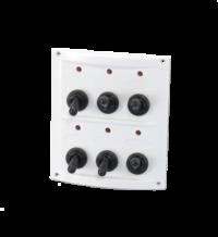 allpa Kunststof schakelpaneel  12V  6-schakelaars  15A zekeringen  incl. labelset  wit