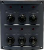 allpa Kunststof schakelpaneel  12V  6-schakelaars  15A zekeringen  incl. labelset  zwart
