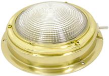 allpa Messing Kajuitlamp met geribde lens  12V /15W  A=140mm  B=98mm  met ventilatie & schakelaar