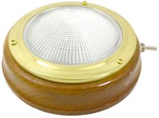 allpa Messing Kajuitlamp met geribde lens  teakhouten basis  12V/15W