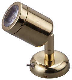 allpa Messing LED-Wand / Leeslamp (mini)  8-30V/1 2W  LED 1x 1W  H=112mm
