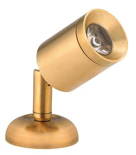 allpa Messing LED-Wand / Leeslamp (mini)  8-30V/1 2W  LED 1x 1W  H=84mm