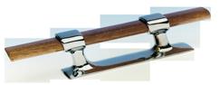 allpa Messing Verchroomde stokbolder  met houten stok  L=215mm (hartmaat: 90mm)
