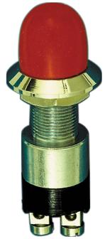 allpa Messing-verchroomde druk (contact)  schakelaar  30A  boorgat Ø14mm  zwarte knop (waterdicht)