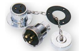 allpa Messing-verchroomde waterdichte connector 3A 3-pins compleet met kunststof deksel