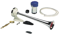 allpa Plastic verchroomde scheepshoorn met compressor  1-tonig  L=390mm  12V (108dB(A)-326Hz)