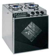 allpa RVS Gasoven model Tropic met 2-pits gaskomfoor  branders: 2x medium  ovenbrander: 1x medium