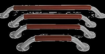 allpa RVS Handreling met lederen overtrek Ø24x20mm (ovaal) H=73mm L=380mm