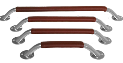 allpa RVS Handreling met lederen overtrek Ø24x20mm (ovaal) H=73mm L=430mm