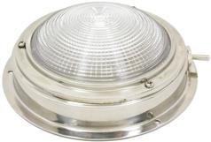 allpa RVS Kajuitlamp met geribde lens  12V / 8W  A=110mm  B=70mm  met ventilatie & schakelaar