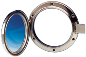 allpa RVS Patrijspoort  Ø215mm  openklapbaar model met gehard glas  gatmaat Ø166mm