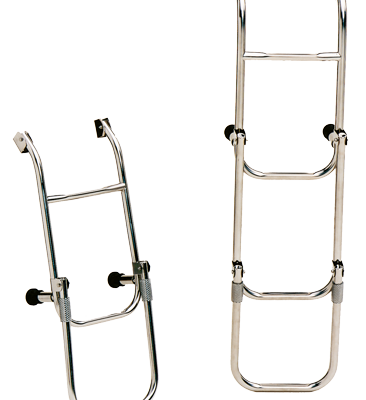 allpa RVS Zwemtrap 4-treden met verstelbare spiegelsteun afm. uitgeklapt 260x1030mm buis Ø20mm