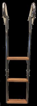 allpa RVS Zwemtrap voor dekmontage 3-treden (hout) buis Ø25mm (afstandhouders niet opvouwbaar)