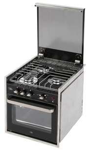 allpa RVS fornuis met 3 branders met glasplaat oven + grill