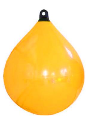 allpa Solid Head buoy  Ø550  L=730mm  Geel met zwarte kop (maat 3)