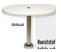 allpa Volkunststof tafelblad ovaal set (457x762mm) met poot (H=686mm) en voet