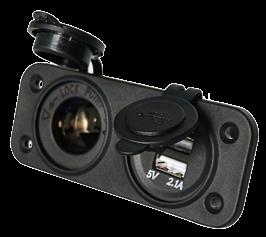 allpa Waterdichte DC inbouw stopcontact 1x 12V ingang & 2x USB (dubbel)