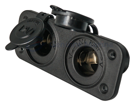 allpa Waterdichte DC inbouw stopcontact 2x 12V ingang (dubbel)