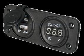 allpa Waterdichte DC inbouw stopcontact 2x USB & 1x voltmeter (dubbel)