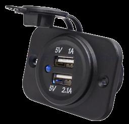 allpa Waterdichte DC inbouw stopcontact met 2x USB ingangen (enkel)