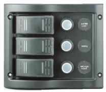 allpa schakelpaneel 12V 3-schakelaars & LED-indicators autom. zekeringen (5A 10A 15A)