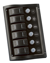 allpa schakelpaneel 12V 6-schakelaars & LED-indicators autom. zekeringen (2x5A 2x10A 2x15A)