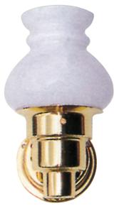 alpa Messing Interieurlamp  halogeen  wandmontage  12V / 10W  basis Ø70mm  glas Ø90mm  H=175mm